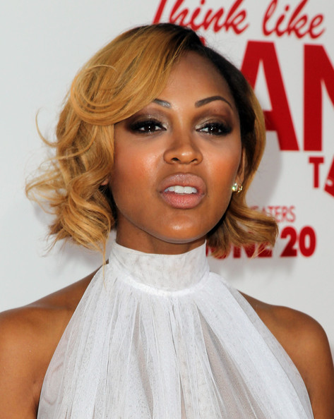 Meagan Good Short Curls [think like a man too,red carpet,hair,hairstyle,lip,blond,eyebrow,beauty,chin,shoulder,long hair,hair coloring,meagan good,tcl chinese theatre,california,hollywood,screen gems,premiere of screen gems]