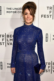 Rose Byrne sported a blue box clutch and beaded dress combo at the Tribeca Film Fest premiere of 'The Meddler.'