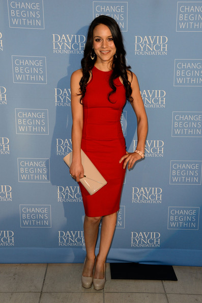 Maya Stojan rocked this fitted red dress at the 'Meditation in Education' event in LA.