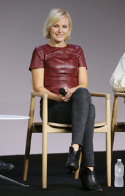Malin Akerman was casual yet stylish in a maroon leather top and gray skinny jeans at the Meet the Filmmaker event.