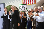 Meg Whitman wore a black business suit on the campaign trail.