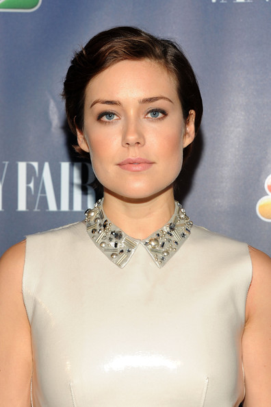 Megan Boone Short Side Part [launch party,nbc,vanity fair,hair,hairstyle,beauty,chin,skin,lip,jewellery,neck,fashion accessory,necklace,new york city,the standard hotel,megan boone]