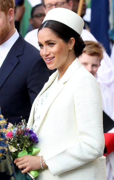 Meghan Markle Diamond Bracelet [lady,event,tradition,formal wear,suit,headgear,uniform,ceremony,smile,fashion accessory,meghan,cooperation,commonwealth,sussex,duchess,countries,england,london,commonwealth service,commonwealth day]
