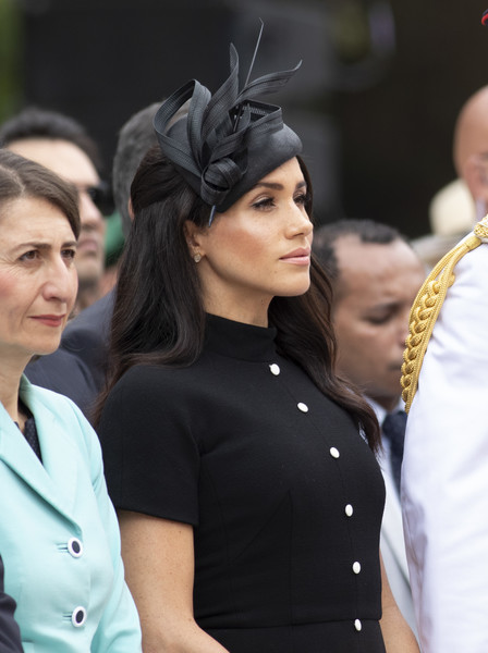 Meghan Markle Fascinator [hair,lady,fashion,beauty,hairstyle,human,headgear,headpiece,black hair,dress,meghan,australia,sussex,duchess,cities,hyde park,duke and duchess of sussex visit,duke,opening,tour]
