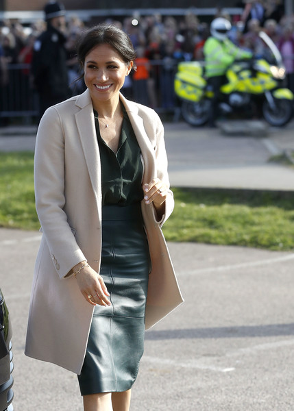 Meghan Markle Wool Coat [clothing,street fashion,fashion,lady,blazer,outerwear,snapshot,dress,yellow,footwear,meghan,sussex,the duke duchess of sussex,duchess,peacehaven,joff youth centre,chichester,duke,the duke duchess of sussex,visit]