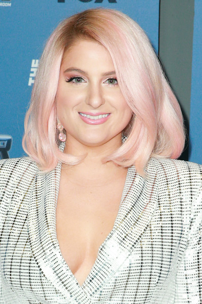 Meghan Trainor Mid-Length Bob [the four: battle for stardom,season,hair,blond,face,hairstyle,eyebrow,lip,layered hair,chin,long hair,beauty,arrivals,blond,meghan trainor,hair,cbs studios,fox,premiere,premiere,meghan trainor,the four: battle for stardom,the four: battle for stardom - season 2,cbs studio center,celebrity,actor,premiere,television,blond]