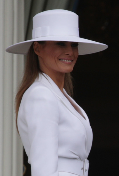 Melania Trump Wide Brimmed Hat [white,hat,clothing,sun hat,fashion accessory,fedora,headgear,costume hat,photography,sleeve,melania trump,emmanuel macron,trump,mrs.,first lady,president,macron to the white house,u.s.,visit,state arrival ceremony]