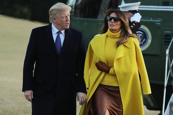 Melania Trump Leather Gloves [yellow,outerwear,fashion,suit,event,street fashion,white-collar worker,bodyguard,melania trump,donald trump,president,mrs,patients,trump return to the white house,u.s.,ohio,sheffer corporation,trip]