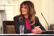 Melania Trump paired her outfit with a neutral mani when she attended a roundtable discussion on cyberbullying.