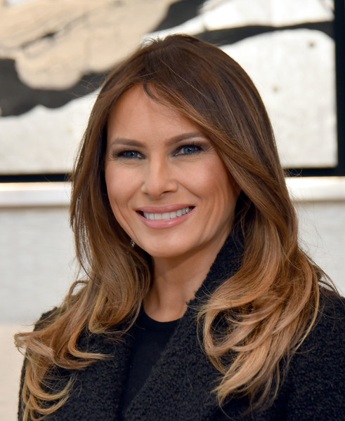 Melania Trump Feathered Flip [hair,face,hairstyle,blond,layered hair,long hair,brown hair,eyebrow,hair coloring,beauty,melania trump,donald trump,akie abe,first lady,activities,us,japan,district,head shop,visit]
