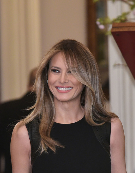 Melania Trump Layered Cut [photo,hair,hairstyle,blond,beauty,lady,long hair,brown hair,shoulder,smile,layered hair,melania trump,first lady,state dining room,us,washington dc,white house,lunch,white house on international womens day,luncheon]
