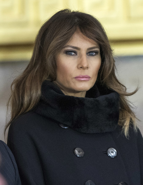 Melania Trump Long Wavy Cut [hair,face,lip,hairstyle,beauty,fashion,lady,black hair,brown hair,neck,billy graham,melania trump,evangelist,millions,repose,repose,us capitol rotunda,u.s. capitol,afp,ceremony]