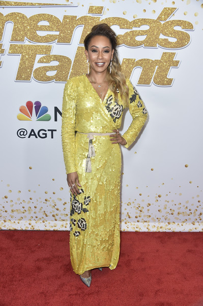 Melanie Brown Wrap Dress [americas got talent,season,red carpet,carpet,clothing,yellow,hairstyle,premiere,flooring,dress,fashion model,long hair,red carpet,mel b,california,hollywood,dolby theatre]