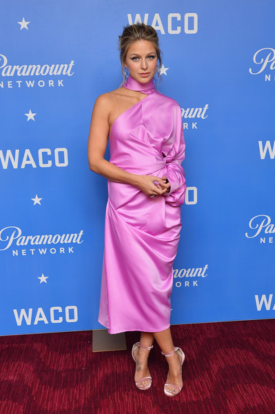 Melissa Benoist One Shoulder Dress [paramount network presents the world premiere of waco,clothing,dress,hairstyle,cocktail dress,shoulder,premiere,electric blue,joint,carpet,flooring,melissa benoist,jazz at lincoln center,waco,new york city,lincoln center,paramount network,world premiere,jazz]
