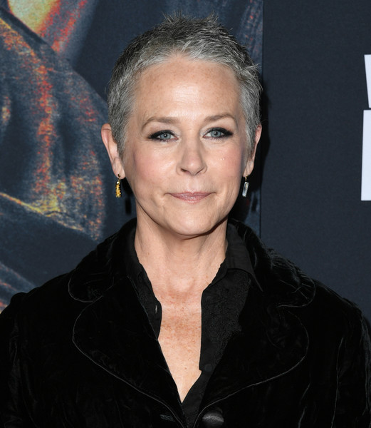 Melissa McBride Buzzcut [the walking dead,season,hair,face,hairstyle,eyebrow,chin,forehead,premiere,smile,arrivals,melissa mcbride,hollywood,california,chinese,special screening of amc]