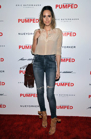 Louise Roe donned a dainty nude button-down shirt for Brian Atwood's celebration of PUMPED.