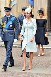 Kate Middleton kept it classy in a pale blue coat dress by Alexander McQueen at the RAF centenary event.