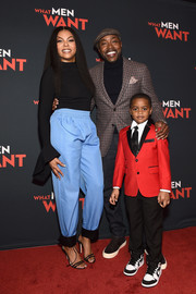 Taraji P. Henson rocked the athleisure trend with these sporty blue pants at the Atlanta screening of 'What Men Want.'