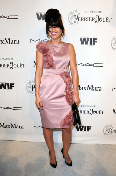 Mena Suvari Pumps [clothing,dress,cocktail dress,shoulder,fashion model,fashion,hairstyle,pink,joint,footwear,mena suvari,arrivals,residence,california,los angeles,bel air,3rd annual women in film pre-oscar party]