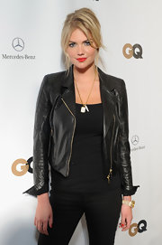 Kate Upton rocked a cool leather jacket with gold hardwear for the Mercedes-Benz GQ Party.