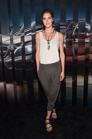 Dressed down in a casual white tank top during the Evolution Tour kickoff, Hilary Rhoda still stunned with her supermodel gorgeousness.