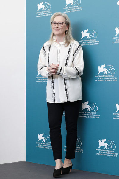 Meryl Streep Loose Blouse [the laundromat photocall,clothing,fashion,footwear,outerwear,premiere,electric blue,carpet,flooring,shoe,street fashion,laundromat,meryl streep,sala grande,photocall,venice,italy,the 76th venice film festival]