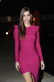 Barbara Palvin rocked a magenta Mugler dress with pointy shoulders and an asymmetrical hem at the Messika cocktail party.