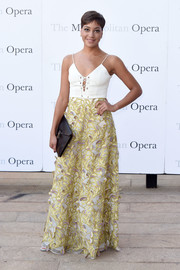Cush Jumbo was summer-glam in a spaghetti-strap gown with a lace-up bodice and an embroidered skirt at the Met Opera opening performance of 'Tristan und Isolde.'