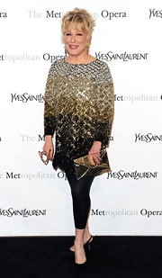 Bette Midler showed off her Broadway style, while attending the Opera gala. She paired her sparkling tunic with a gold clutch.