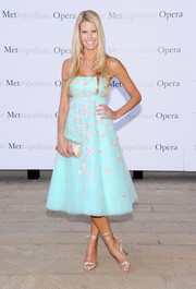 Beth Stern looked oh-so-charming at the 'Eugene Onegin' opening in a pastel-blue strapless dress with pink floral embroidery.