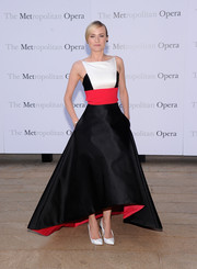 Diane Kruger went for modern elegance in a black, red, and white evening dress by Prabal Gurung during the 'Eugene Onegin' opening.