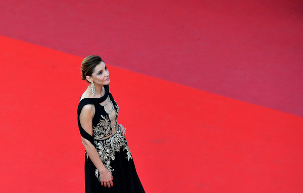 More Pics of Clotilde Courau Gemstone Chandelier Earrings (1 of 9) - Clotilde Courau Lookbook - StyleBistro [the meyerowitz stories,film,photo,fashion model,red,fashion,beauty,dress,pink,model,shoulder,fashion design,event,red carpet arrivals,clotilde courau,french,cannes,cannes film festival,screening,edition]