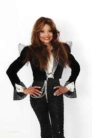La Toya Jackson was blinged-out to the nines in this avant-garde blazer.