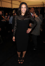 Paula Patton wore a lacy LBD to the Michael Kors fashion show.
