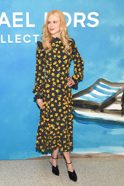 Nicole Kidman kept it demure in a flower-appliqued dotted dress by Michael Kors during the brand's Spring 2019 show.