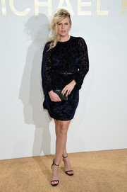 Alexandra Richards kept it classy in a navy velvet fil coupé dress by Michael Kors during the brand's fragrance launch.