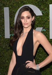 Emmy Rossum accessorized with a gorgeous diamond bracelet for a bit of sparkle to her black outfit at the Young Hollywood event.