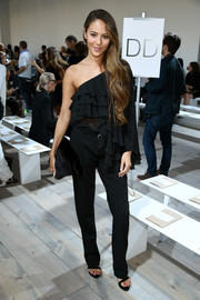 Jessica Michibata balanced out her frilly top with simple black slacks.