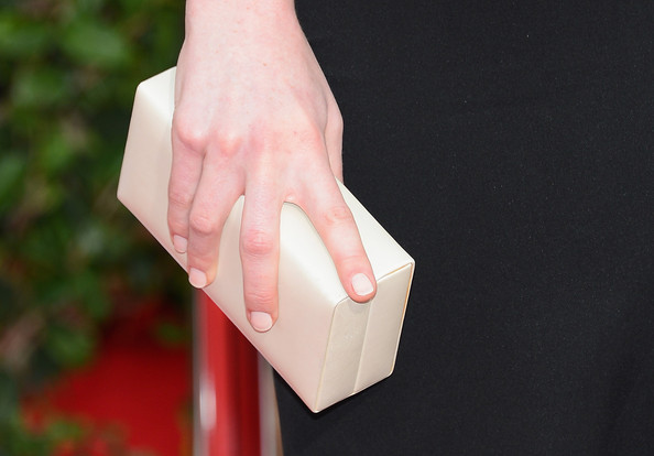 Michelle Dockery Box Clutch [finger,hand,pink,arm,nail,material property,gesture,arrivals,michelle dockery,screen actors guild awards,handbag detail,california,los angeles,the shrine auditorium]