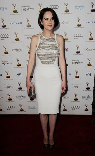 Michelle Dockery Metallic Clutch [dress,clothing,cocktail dress,fashion model,fashion,hairstyle,premiere,carpet,shoulder,long hair,michelle dockery,pacific design center,west hollywood,california,academy of television arts sciences,performer nominee reception,65th primetime emmy awards]