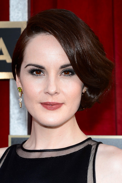 Michelle Dockery Dangling Gemstone Earrings [red carpet,hair,face,hairstyle,eyebrow,lip,chin,beauty,black hair,brown hair,eyelash,michelle dockery,screen actors guild awards,california,los angeles,the shrine auditorium,19th annual screen actors guild awards]