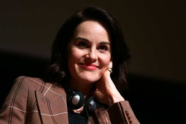 Michelle Dockery Gold Ring [downton abbey,movie,face,audio equipment,beauty,cheek,lip,microphone,smile,photography,fun,portrait,michelle dockery,rome,italy,press conference,press conference - 14th rome film fest 2019,rome film festival]
