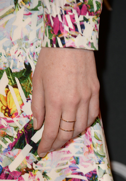 Michelle Dockery Gold Ring [tv tea 2013,pink,clothing,pattern,hand,nail,dress,fashion,finger,textile,arrivals,michelle dockery,ring detail,bafta la,sls hotel,beverly hills,california,audi,bbc america]