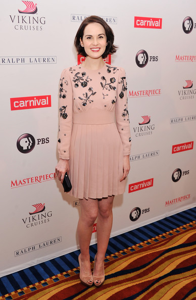 Michelle Dockery Beaded Dress [downton abbey,season,cast photo,clothing,dress,red carpet,cocktail dress,hairstyle,carpet,fashion,premiere,shoulder,fashion model,michelle dockery,call,new york city,millenium hotel,cast photo call]