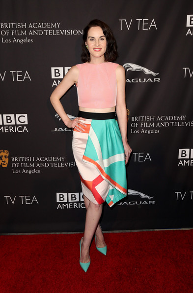 Michelle Dockery Knee Length Skirt [clothing,dress,cocktail dress,shoulder,carpet,premiere,strapless dress,red carpet,fashion,waist,jaguar - arrivals,michelle dockery,los angeles,beverly hills,california,sls hotel,tv tea 2014,bafta,bbc america,bbc america and jaguar]