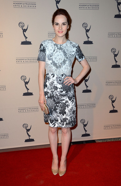 Michelle Dockery Print Dress [clothing,red carpet,dress,cocktail dress,carpet,fashion model,shoulder,fashion,footwear,premiere,michelle dockery,writer nominees,north hollywood,california,academy of television arts sciences,64th primetime emmy awards,reception]