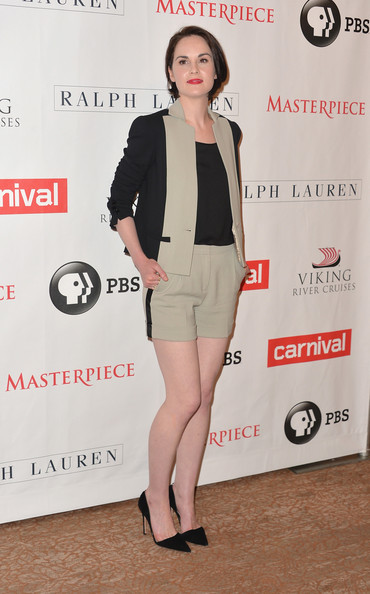 Michelle Dockery Pumps [downton abbey,season,clothing,leg,footwear,fashion,outerwear,shoulder,dress,blazer,suit,joint,michelle dockery,photo call,california,beverly hills,the beverly hilton hotel,pbs history,pbs historys downton abbey]