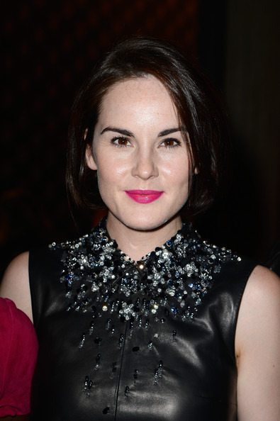 Michelle Dockery Pink Lipstick [hair,face,lip,lady,beauty,eyebrow,hairstyle,chin,fashion,cheek,michelle dockery,miu miu,front row,part,palais diena,paris,france,paris fashion week womenswear spring]