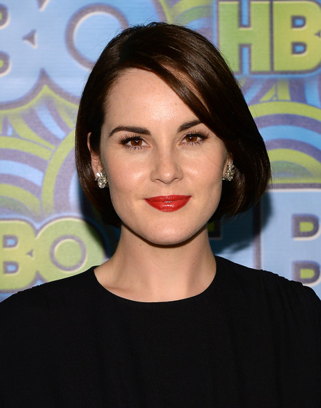 Michelle Dockery Red Lipstick [hair,face,lip,hairstyle,eyebrow,chin,beauty,forehead,cheek,lipstick,arrivals,michelle dockery,primetime emmy awards,the plaza,los angeles,california,pacific design center,hbo,reception,primetime emmy awards post award reception]