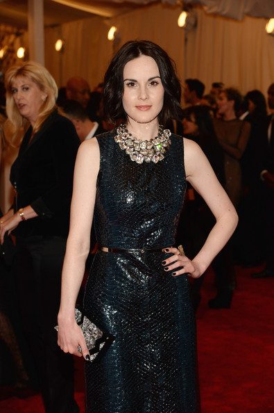 Michelle Dockery Dark Nail Polish [punk: chaos to couture,red carpet,clothing,carpet,dress,fashion,flooring,event,premiere,little black dress,haute couture,michelle dockery,new york city,metropolitan museum of art,punk: chaos to couture costume institute gala,exhibition]